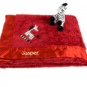 Embroidered Zebra Blanket - Red - Kushies