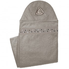 Hooded Towel With Applique Design in Cotton - Mocha