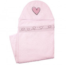 Hooded Towel With Heart Applique Design - Pink