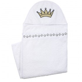 Hooded Towel With Applique Design - White
