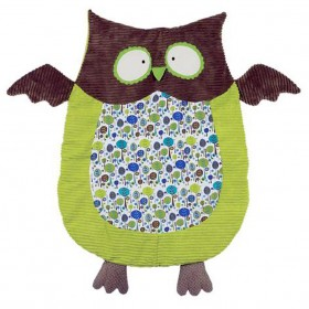 Green & Brown Owl Nap Mat - Boy's Belly Blanket - Maison Chic