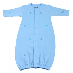 Margery Ellen Embroidered Pima Cotton Gown - Light Blue