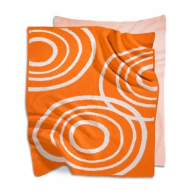 Organic Stroller Blanket - Poppie Orange Circles
