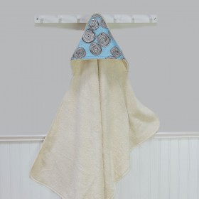 Organic Terry Hooded Towel - Blue