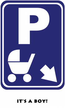 Carriage Parking Baby Boy Card