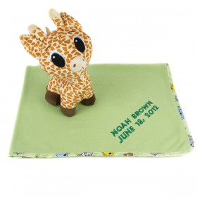 Personalized Blanket and Giraffe Gift Set