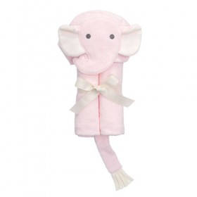 Pink Elephant Bath Wrap / Hooded Towel - Elegant Baby