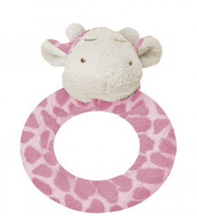 Pink Giraffe Ring Rattle - Angel Dear