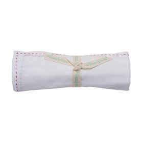 Poeme Et Poesie Handmade Dobby Swaddle - Red Stitching