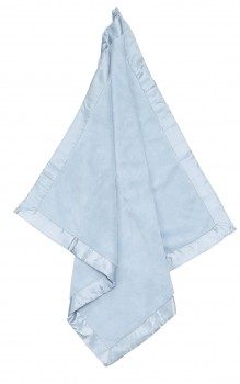 Powder Blue Fuzzy Blanket With Satin Trim - Angel Dear