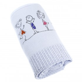 Happy Kids Embroidered Blanket in Blue: Romy & Rosie