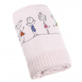 Happy Kids Embroidered Blanket in Pink: Romy & Rosie