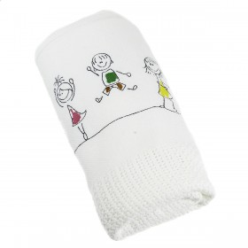 Happy Kids Embroidered Blanket in White: Romy & Rosie