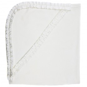 Hooded Ruffled Receiving Blanket - White