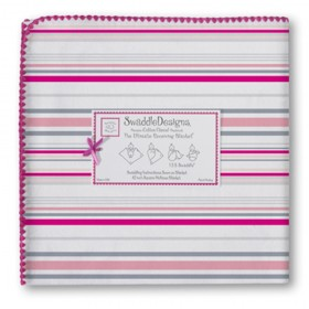 Swaddle Designs Receiving Blanket Stripes -  Very Berry