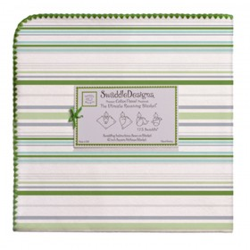 Swaddle Designs Receiving Blanket Stripes -  Pure Green
