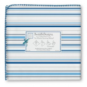 Swaddle Designs Receiving Blanket Stripes -  True Blue