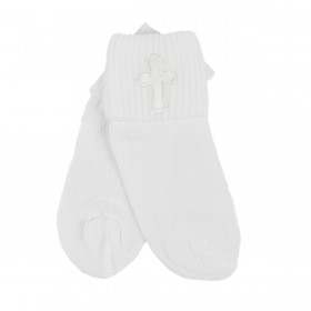 Baby Christening Socks With Cross - Boy