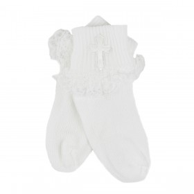 Baby Christening Socks With Cross - Girl