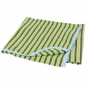 Green Striped Cotton Receiving Blanket With Blue Trim
