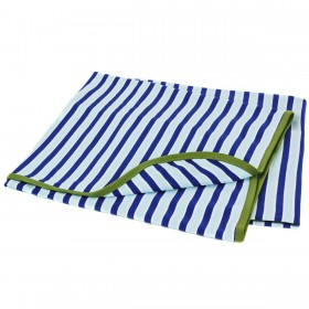 Blue Striped Cotton Receiving Blanket With Green Trim