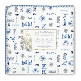 Swaddle Designs Receiving Blanket - Hello - Blue