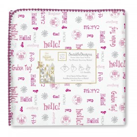 Swaddle Designs Receiving Blanket - Hello - Berry