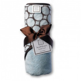 Blue Turkish Cotton Hooded Baby Towel - Brown Mod Circles - SwaddleDesigns