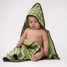 Green Turkish Cotton Hooded Baby Towel - Brown Mod Circles - SwaddleDesigns