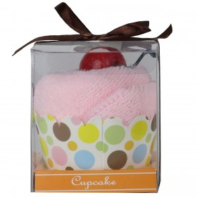 Towel Treat Wash Cloth - Pink Strawberry Cupcake
