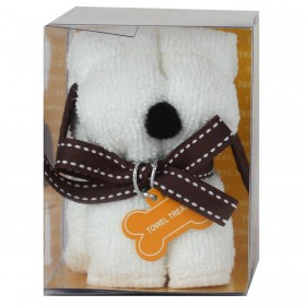 Towel Treat Wash Cloth - White Dog
