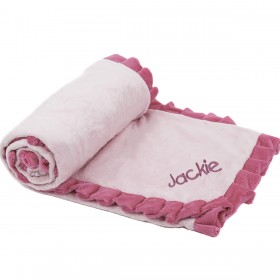 Ruffled Receiving Blanket - Pink on Pink