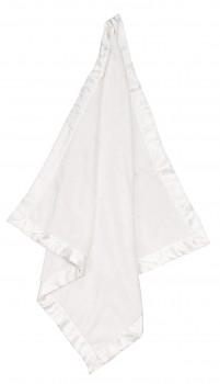 White Fuzzy Blanket With Satin Trim - Angel Dear