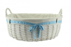 Baby Boy Gift Basket With Handles, Blue Ribbon & Liner