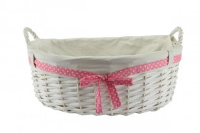 Baby Girl Gift Basket With Handles, Pink Ribbon & Liner