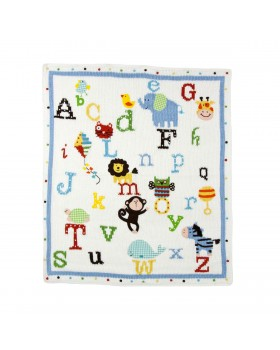 Alphabet Soup Hand Stitched Stroller Blanket - Artwalk