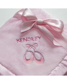 Bearington Silky Soft Personalized Crib Blanket - Pink