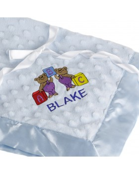 Dottie Personalized Snuggle Blanket - Blue, Bearington