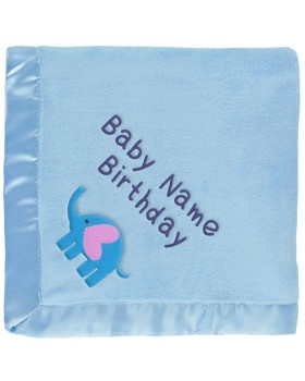 Baby Boy Elephant Blanket With Heart in Blue