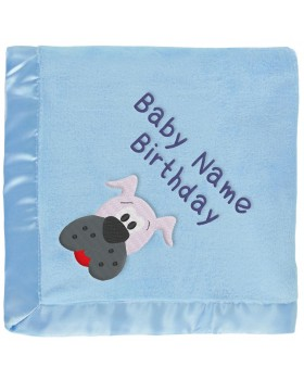 Blue Baby Blanket With Gray Dog & Embroidered Boy's Name
