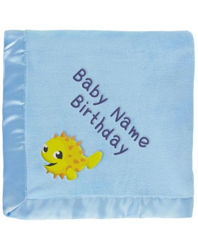 Yellow Puffer Fish Baby Blanket in Blue