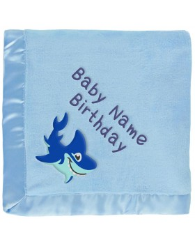 Blue Shark Personalized Baby Blanket