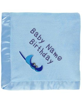 Personalized Baby Blanket - Stingray, Blue