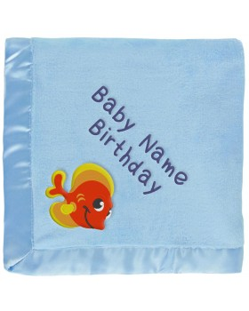 Personalized Baby Blanket - Orange Tropical Fish - Blue