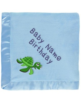 Personalized Baby Blanket - Green Sea Turtle on Blue