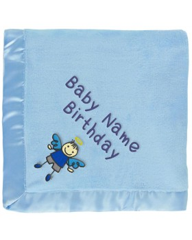 Boy Angel With Wings Baby Blanket in Blue