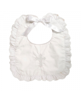 Christening Bib - Girl or Boy Unisex - Elegant Baby