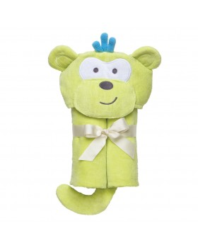 Green Monkey Bath Wrap / Hooded Towel - Elegant Baby