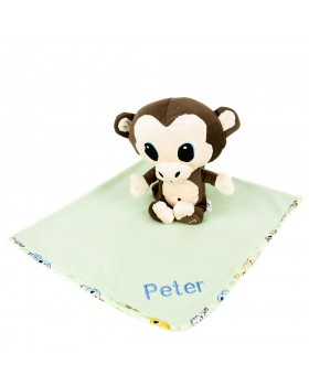 Personalized Blanket and Monkey Gift Set