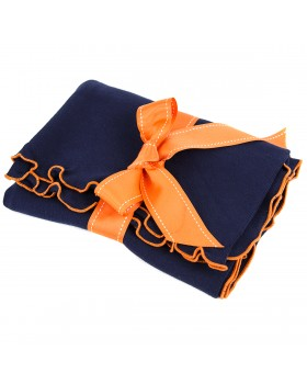 Lettuce Leaf Receiving Blanket, Blue & Orange - A Soft Idea